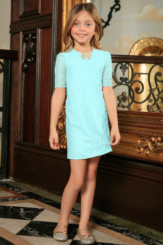 bc78506f71b Mint Blue Lace Sleeved A-line Spring Summer Party Dress - Girls - Pineapple  Clothing