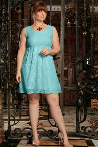 Mint Blue Lace Empire Waist Sleeveless Sexy Curvy Dress Plus Size - Pineapple Clothing