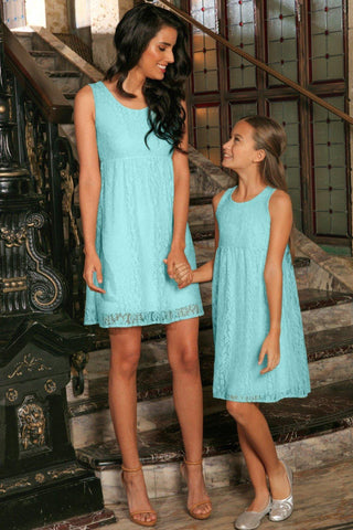 Mint Blue Stretchy Lace Empire Waist Sleeveless Day Mommy and Me Dress - Pineapple Clothing