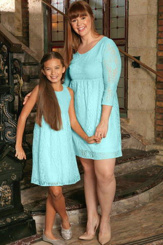 Mint Blue Stretchy Lace Empire Waist Summer Mommy & Me Dress Plus Size - Pineapple Clothing