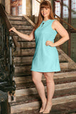 Mint Blue Stretchy Lace Sleeveless Chic Sexy Shift Dress - Women Plus Size