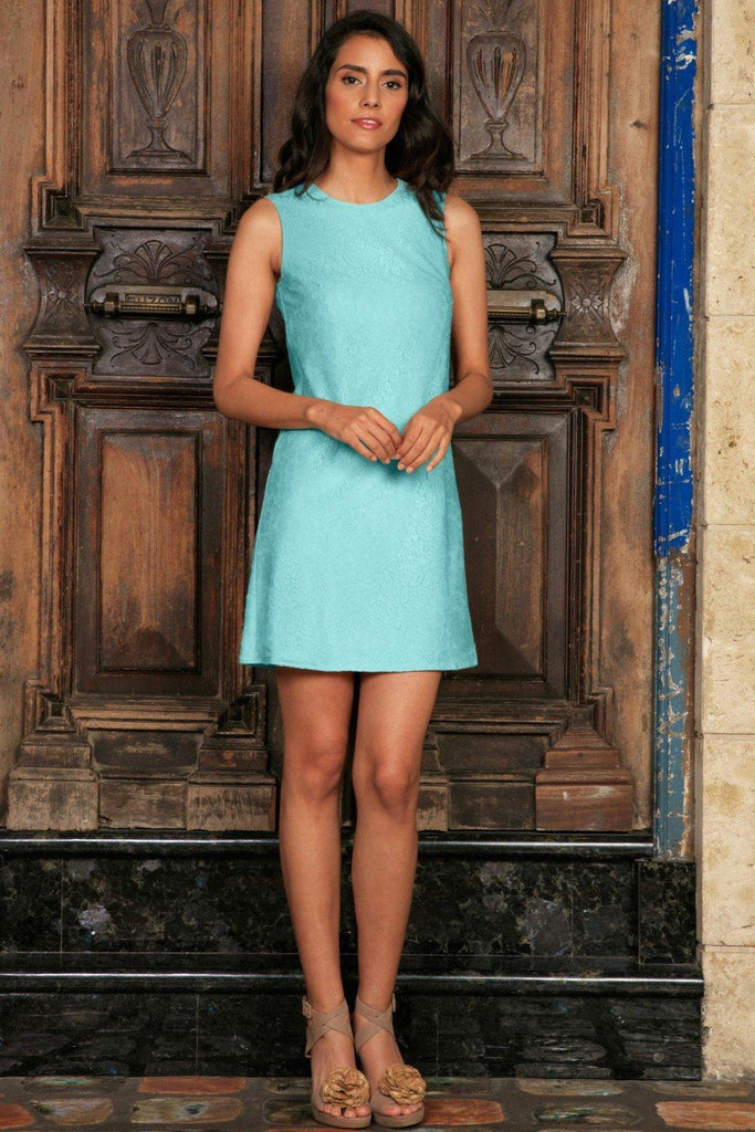 Mint Blue Stretchy Lace Sleeveless Spring Shift Mini Dress - Women