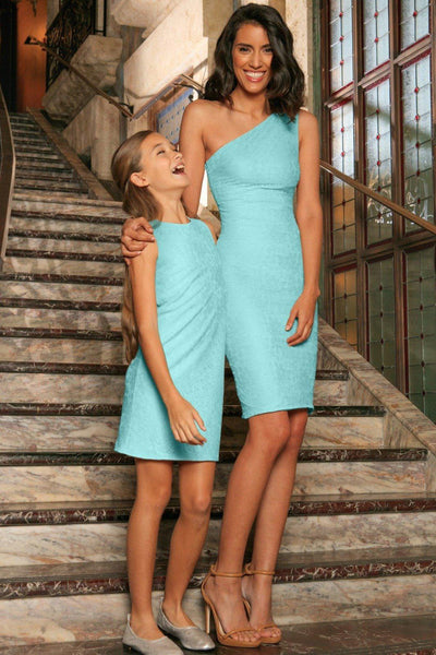 Mint Lace Sleeveless Fancy Party Mother Daughter Dress