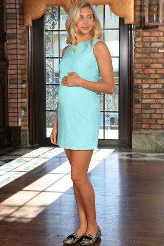 Mint Blue Stretchy Lace Sleeveless Party Shift Dress - Women Maternity - Pineapple Clothing