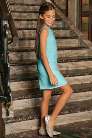 Mint Blue Stretchy Lace Sleeveless Spring Summer Party Dress - Girls