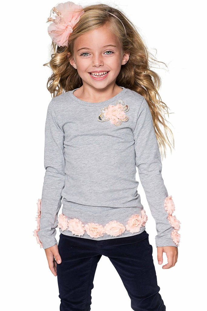 Cute Grey Long Sleeve Dressy Top with Flower Trim - Girls - Pineapple Clothing