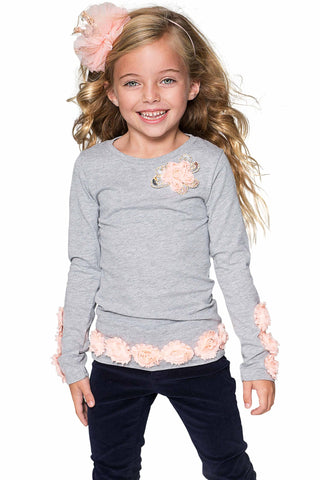 7bc5248037 Cute Grey Long Sleeve Dressy Top with Flower Trim - Girls - Pineapple  Clothing