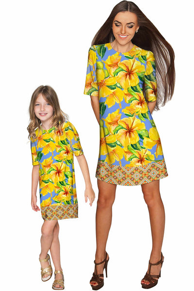 After the Rain Grace Yellow Floral Sleeved Shift Dress - Girls