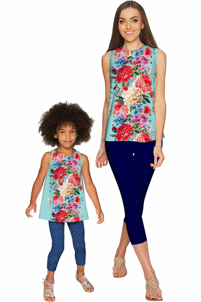 Amour Emily Blue Floral Print Sleeveless Dressy Top - Girls - Pineapple Clothing