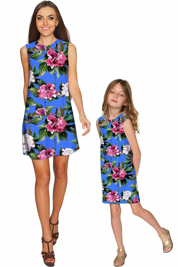 Aquarelle Adele Beautiful Blue Flower Party Shift Dress - Girls - Pineapple Clothing