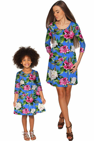 Aquarelle Gloria Empire Waist Floral Mommy and Me Dresses - Pineapple Clothing