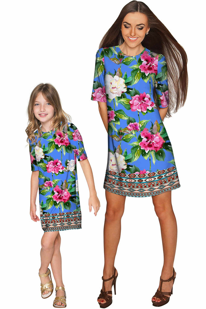 Aquarelle Grace Blue Floral Print Shift Party Dress - Girls - Pineapple Clothing