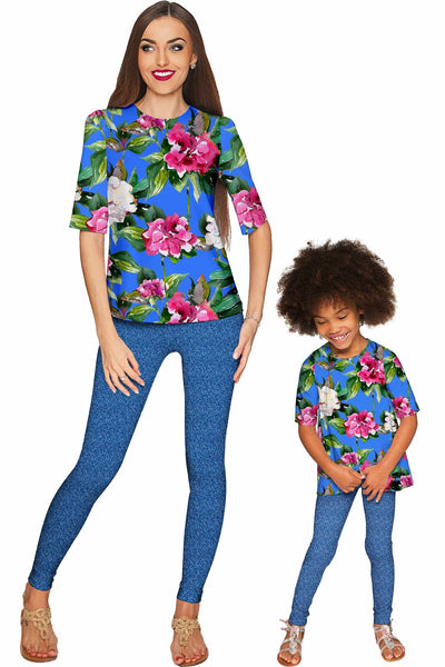 Aquarelle Sophia Elbow Sleeve Party Top - Mommy & Me
