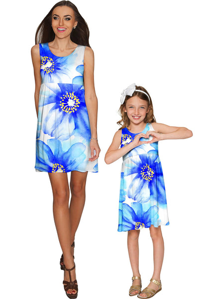 Aurora Sanibel Blue Floral Print Empire Dress - Girls