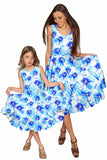 Aurora Vizcaya Fit & Flare Midi Blue Floral Dress - Women - Pineapple Clothing
