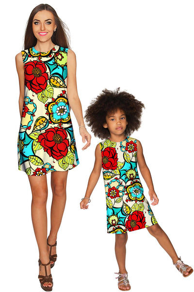 Carnaval Adele Beautiful Colorful Print Shift Dress - Girls