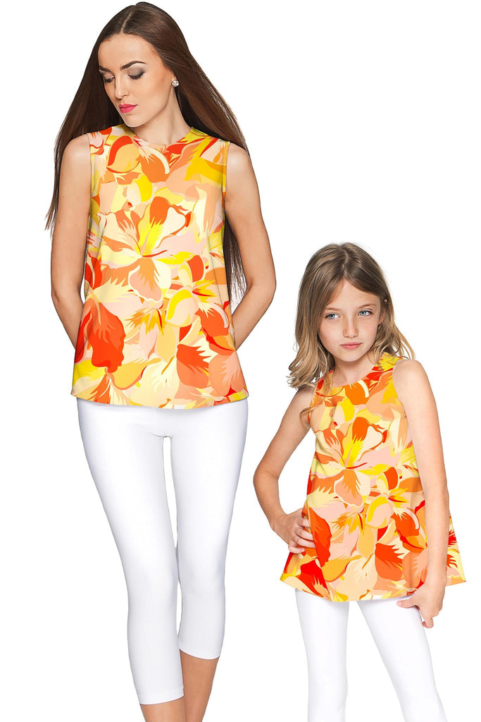 Flaming Hibiscus Emily Sleeveless Dressy Top - Mommy & Me - Pineapple Clothing