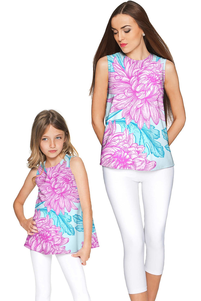 Floral Bliss Emily Pink & Blue Cute Sleeveless Eco Top - Girls - Pineapple Clothing