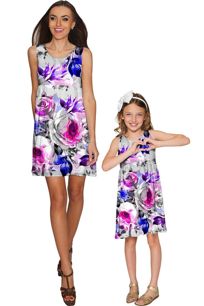 Floral Touch Sanibel Empire Waist Cute Grey Dress - Girls