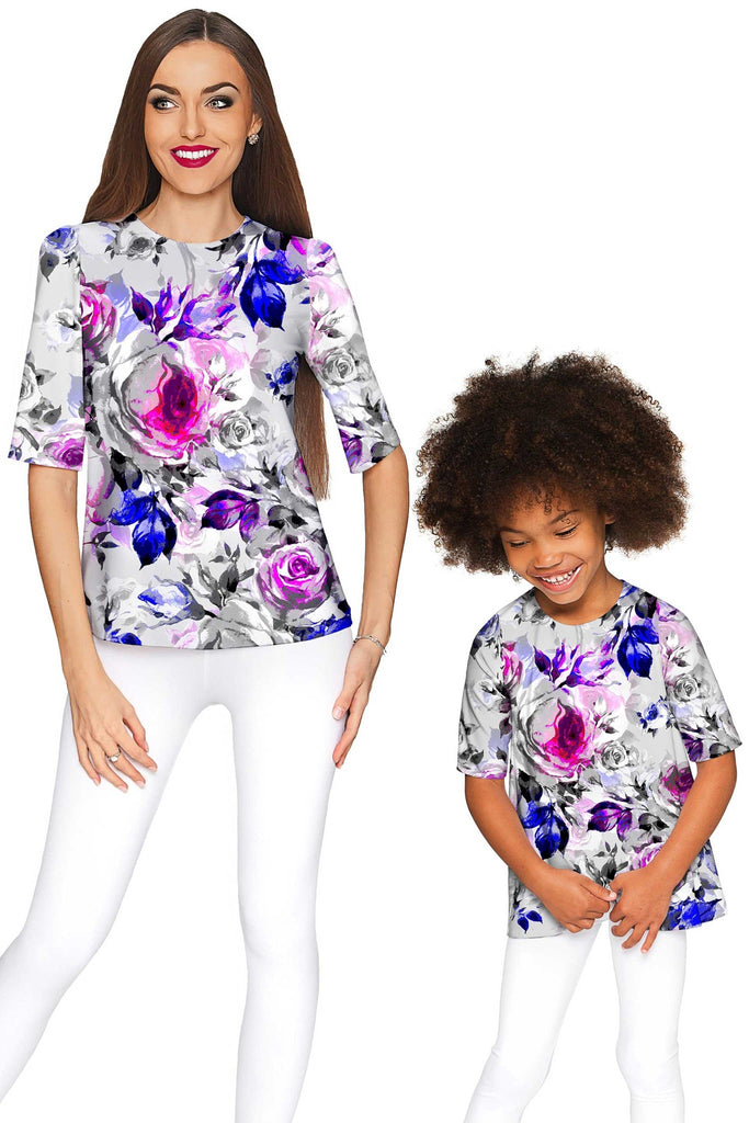 Floral Touch Sophia Grey Elbow Sleeve Fancy Top - Girls - Pineapple Clothing