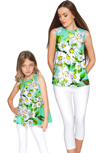 Flower Party Emily Green Sleeveless Summer Top - Women