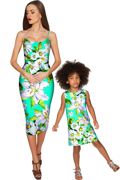 Flower Party Olivia Green Bodycon Midi Dress - Women