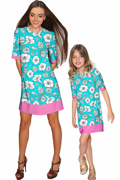 Forever Young Grace Cute Baby Blue Floral Shift Dress - Girls