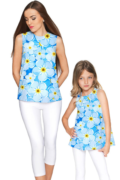 Forget-Me-Not Emily Blue Floral Print Summer Eco Top - Girls