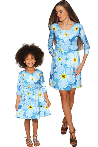 Forget-Me-Not Gloria Empire Waist Floral Mother and Daughter Dresses - Pineapple Clothing