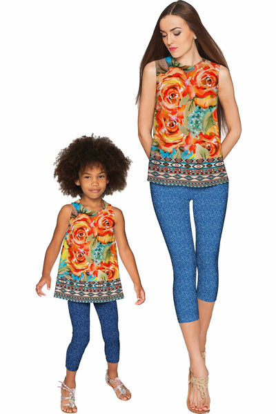 Fox Emily Yellow Floral Print Sleeveless Chic Party Top - Girls