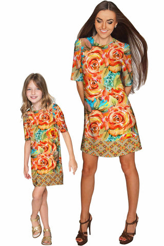 Fox Grace Shift Floral Mother Daughter Dress - Pineapple Clothing
