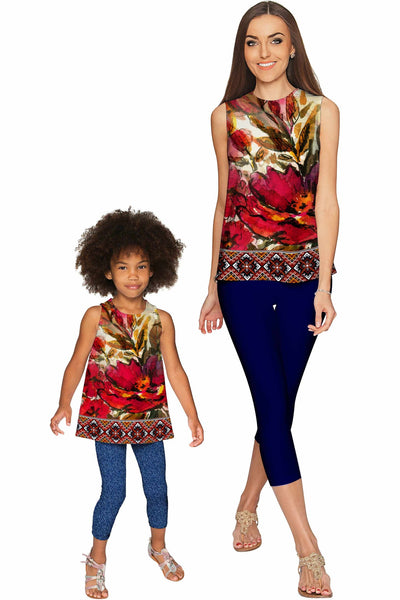 Free Spirit Emily Red Flower Boho Sleeveless Party Top - Girls