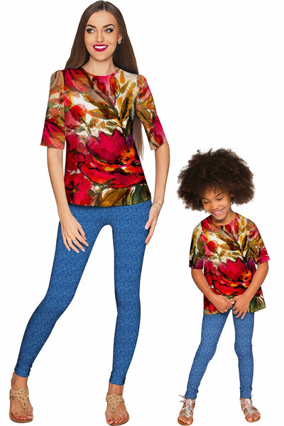 Free Spirit Sophia Red Floral Print Stretch Party Top - Girls