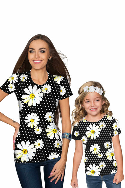He Loves Me Zoe Black Daisy Floral Print Cute T-Shirt - Girls