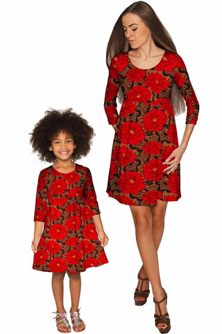 Hot Tango Gloria Empire Waist Floral Mommy and Me Dress - Pineapple Clothing