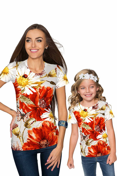 In The Wheat Field Zoe Floral Print Designer Tee - Women