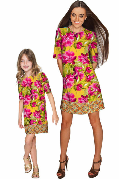 Indian Summer Grace Shift Floral Mother and Daughter Dress