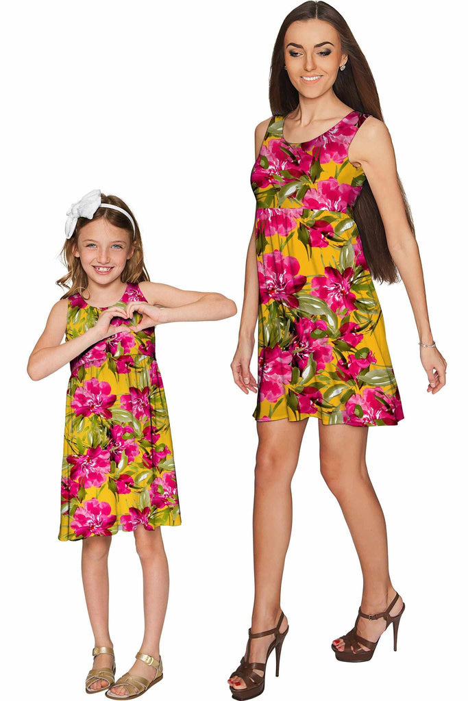 Indian Summer Sanibel Empire Waist Floral Mommy and Me Dresses - Pineapple Clothing