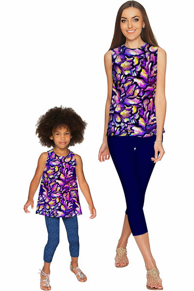 Make a Wish Emily Purple Print Sleeveless Fancy Top - Girls