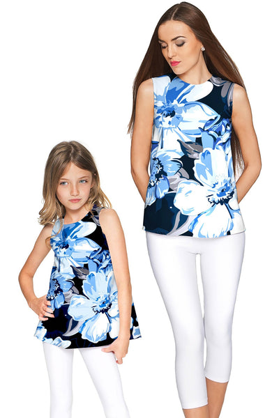 Memory Book Emily Blue Floral Trendy Sleeveless Top - Girls