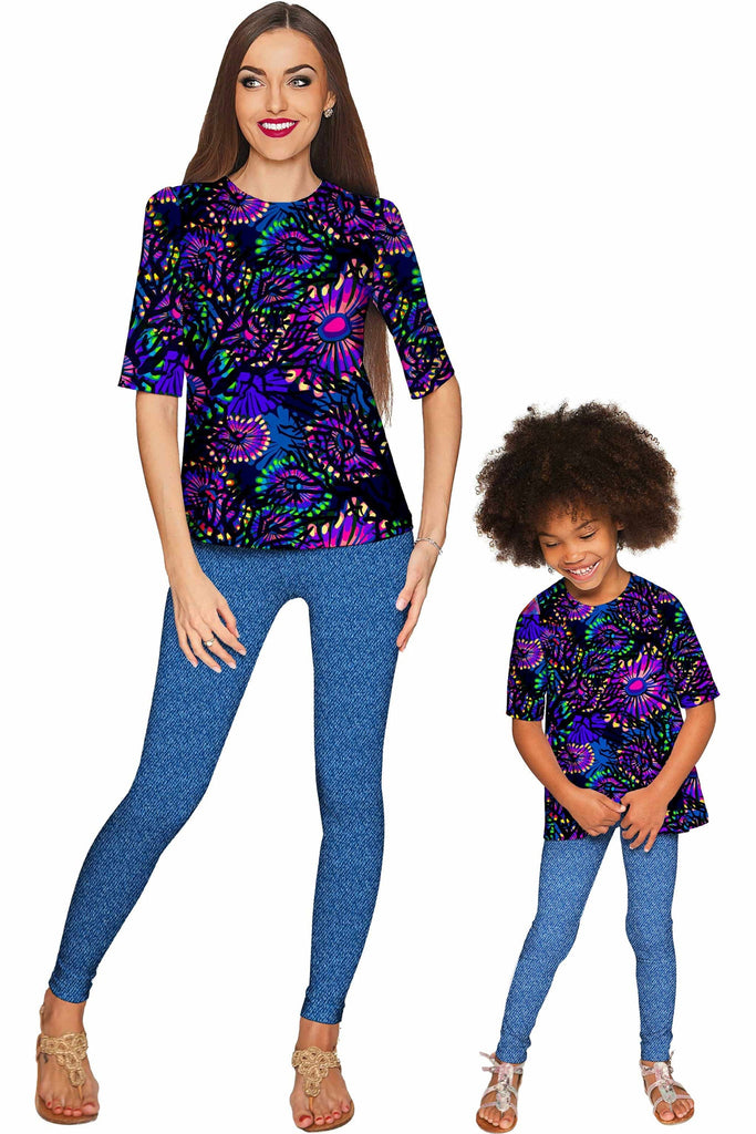 Midnight Glow Sophia Elbow Sleeve Dressy Top - Mommy & Me - Pineapple Clothing