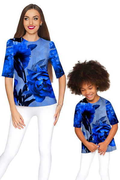 Mystery Sophia Blue Flower Print Fancy Party Top - Women