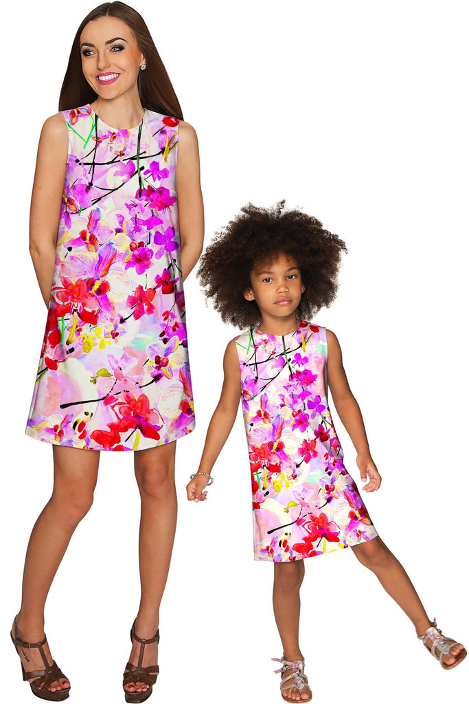 Orchid Caprice Adele Pink Floral Print Shift Dress - Girls - Pineapple Clothing