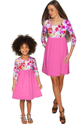 Orchid Caprice Gloria Empire Waist Floral Mommy and Me Dresses - Pineapple Clothing