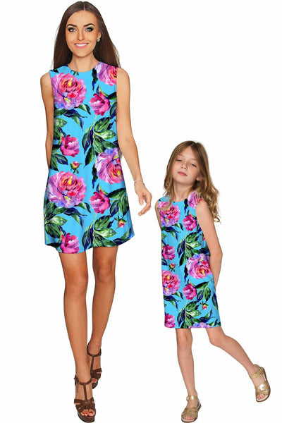 Peony Splash Adele Shift Party Mother and Daughter Dresses