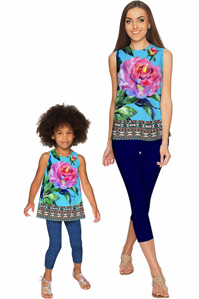 Peony Splash Emily Blue & Pink Flower Cute Party Top - Girls