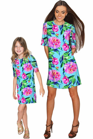 Peony Splash Grace Shift Floral Mommy and Me Dresses - Pineapple Clothing