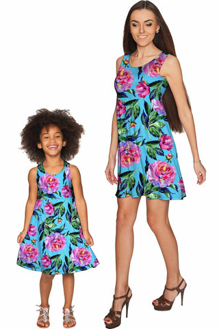 Peony Splash Sanibel Empire Waist Floral Mother Daughter Dress - Pineapple Clothing