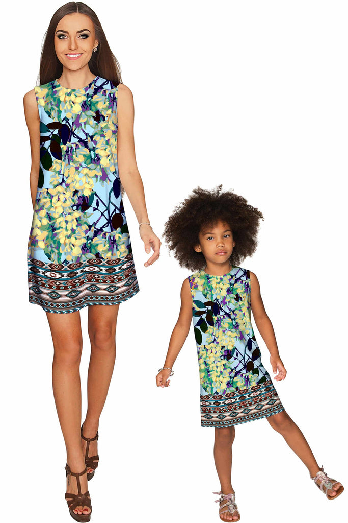 Pure Tenderness Adele Blue Unique Printed Shift Dress - Girls - Pineapple Clothing