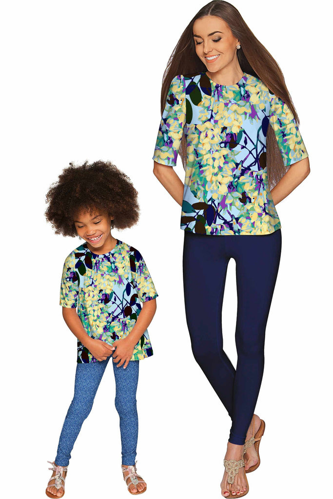 Pure Tenderness Sophia Cute Blue Sleeved Party Top - Girls - Pineapple Clothing